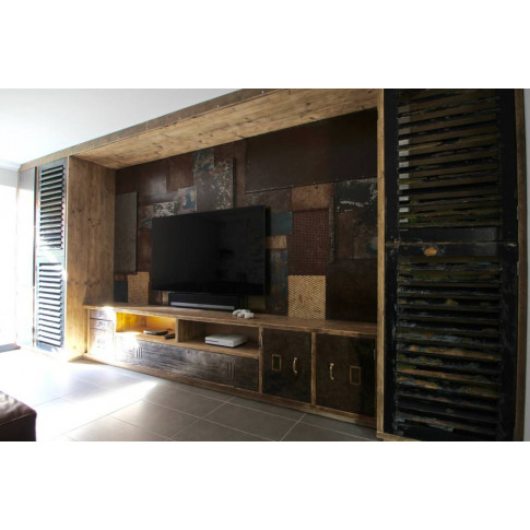Tunni Media Unit With Patchwork Feature Wall
