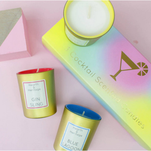 A Set Of Three Cocktail Votive Candles In Gift Box