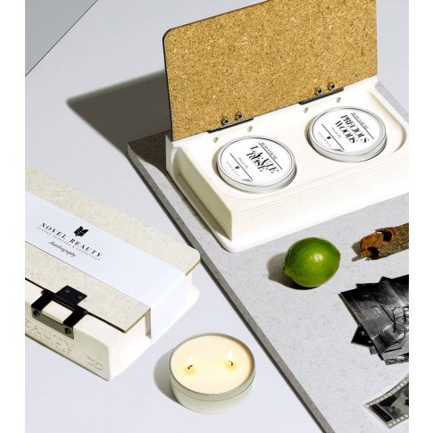Autobiography Candleholder Book With Candles