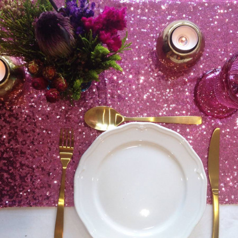 Valentine's Day Rose Pink Sequin Table Runner