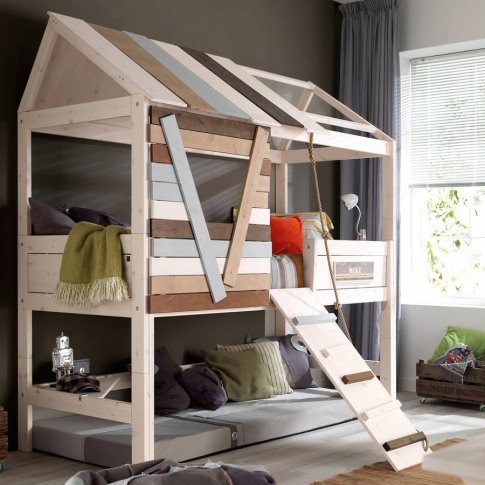 High Tree House Kids Bed With Rope Ladder
