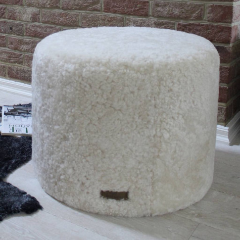 Cream Curly Sheepskin Round Pouffe