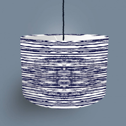 Tie Dye Striped Lampshade White And Blue