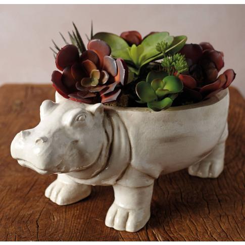 Large Ceramic Hippo Planter
