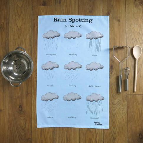 Rain Spotting In The U.K. Tea Towel