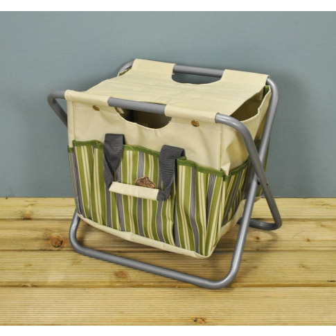 Canvas Garden Storage Tool Stool In Green And Cream