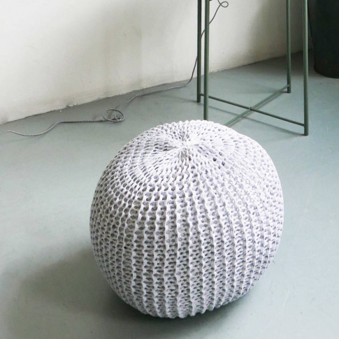 Round Hand Knitted Pearl Pouf