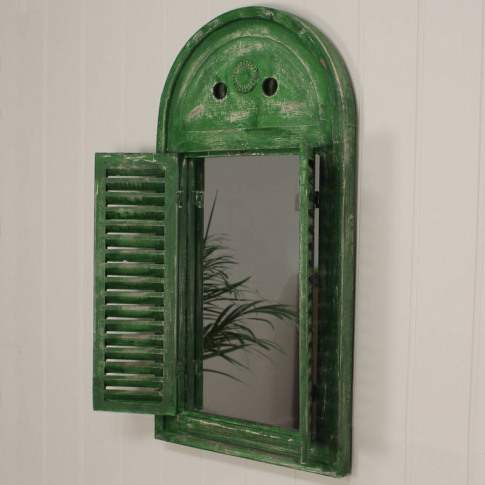 Loire Wooden Shuttered Mirror In Distressed Green