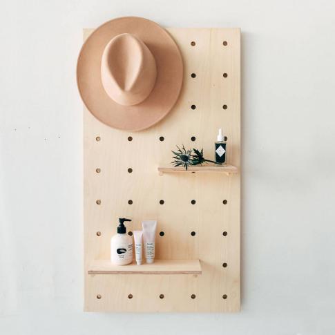 Display Birch Plywood Pegboard Shelving Display Unit