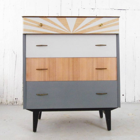 Geometric Monochrome Painted Chest Of Drawers