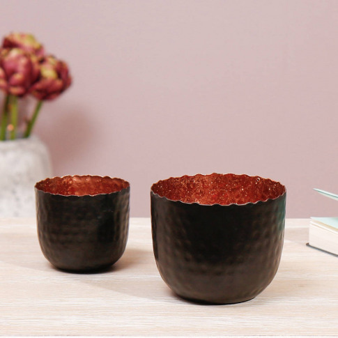 Copper And Charcoal Tealight Holders