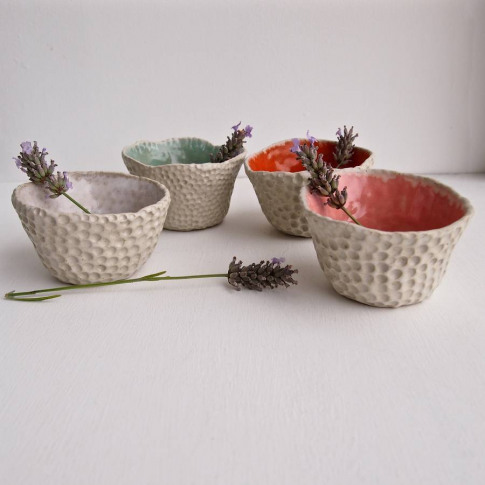 Handmade Ceramic Small Planters With Circle Design