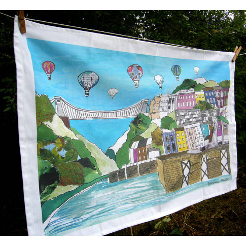 Bristol Tea Towel 'Clifton Balloons' Colour