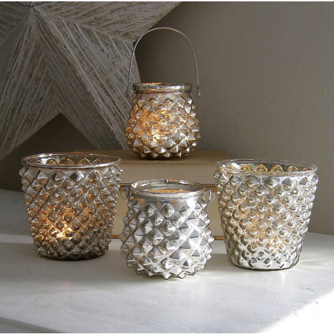 Silver Diamond Tealight Holders
