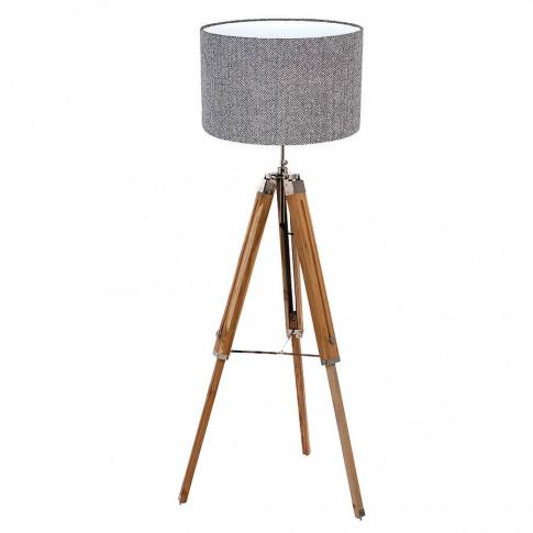 Floor Lamp And Harris Tweed Herringbone Shade