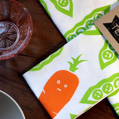 Happy Peas Grumpy Carrot Tea Towel