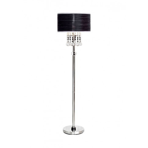 Woven Shade Crystal Chandelier Floor Lamp