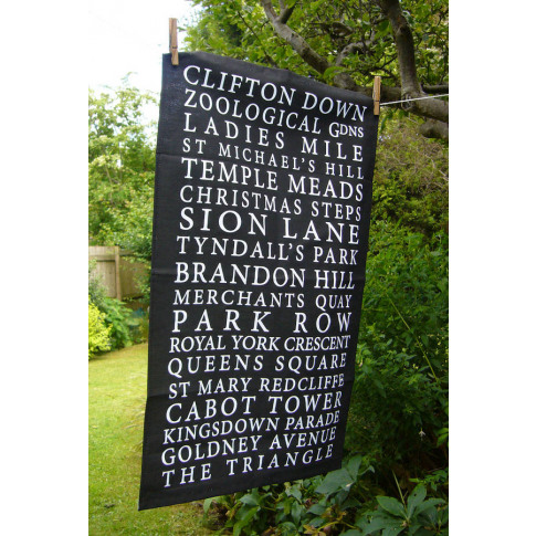 'Bristol Places' Tea Towel Black