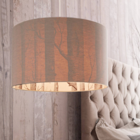 The Woods Silhouette Lampshade In Oatmeal Linen