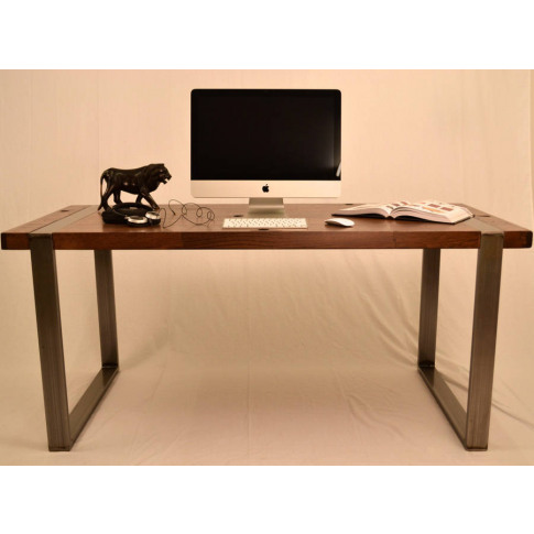 Reclaimed Cargo Train Oak Desk W/ Industrial Steel Legs