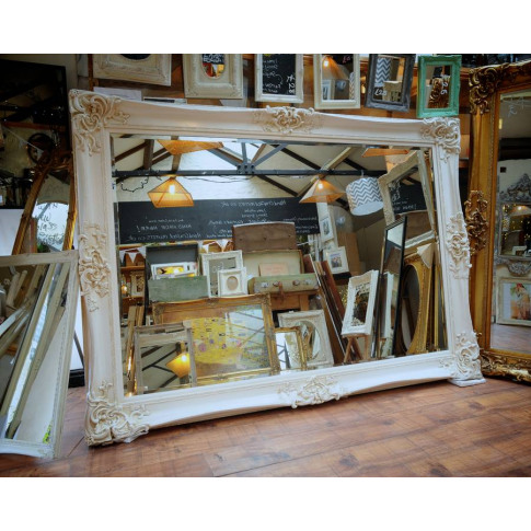 Huge Oversized Ivory Mirror