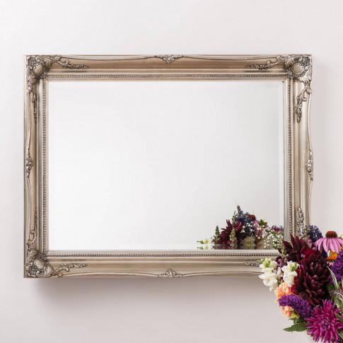 Vintage Ornate Mirror Antique Silver