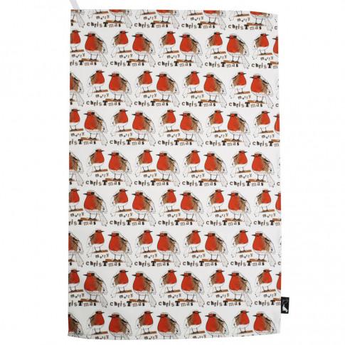 Christmas Red Robin Tea Towel