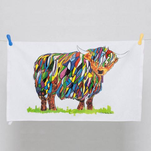 Bright Highland Cow Tea Towel