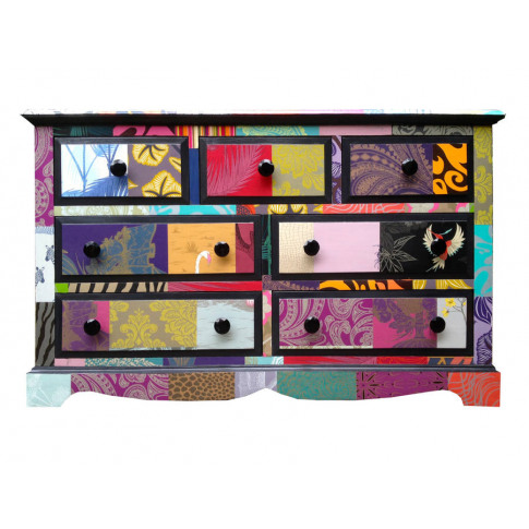 Large Patchwork Merchants Chest Of Drawers