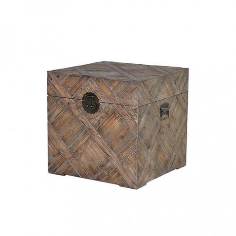 Warrior Style Elm Wood Parquet Storage Trunk