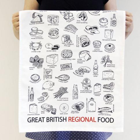 'Great British Regional Food' Tea Towel