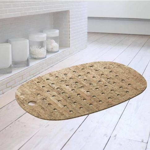 Cork And Rubber Bath Mat With Natural Cork Veneer