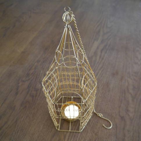 Brass Birdcage Hanging Tealight Holder
