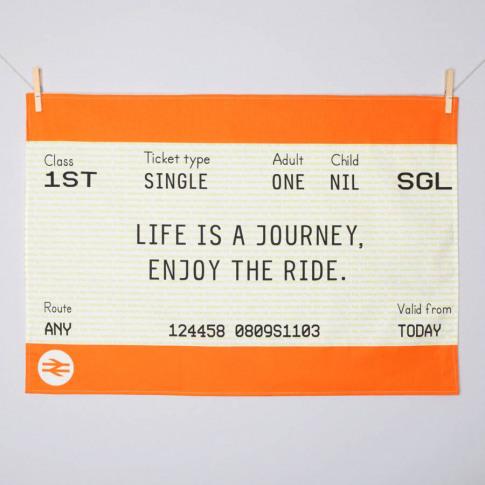 Train Ticket Tea Towel