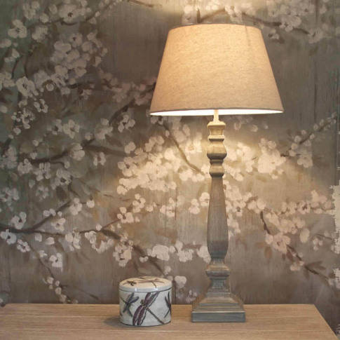 Tall Slim Grey Wash Wooden Table Lamp With Shade