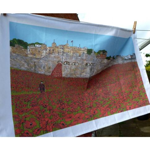 Tower Of London Poppies Tea Towel