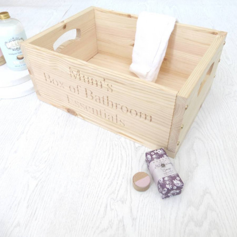 Personalised Wooden Bathroom Storage Crate
