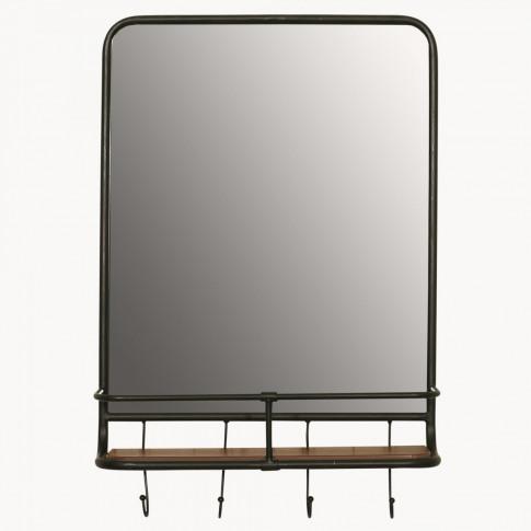 Avondale Iron Shelf Mirror With Hooks