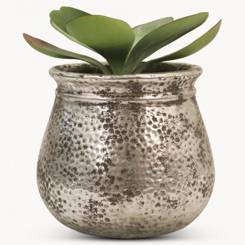 Birkdale Hammered Planter In Silver Finish