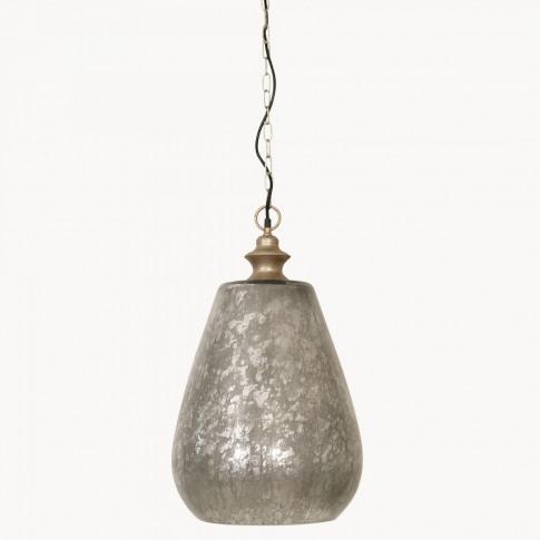 Brockton Iron And Glass Pendant In Antique Silver Fi...