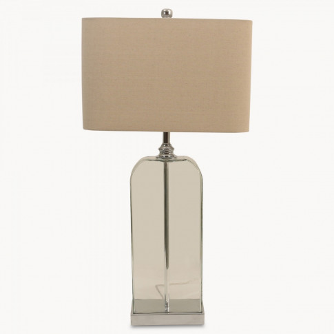 Clifton Glass Table Lamp in Chrome Finish with Shade