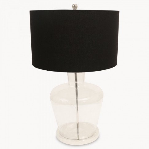 Clifton Glass Table Lamp On Metal Base With Shade