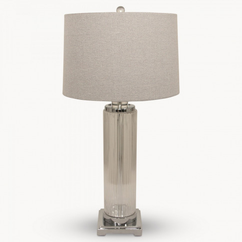 Clifton Metal & Glass Cylinder Table Lamp with Shade