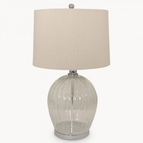 Clifton Ribbed Glass Table Lamp On Metal Base With S...