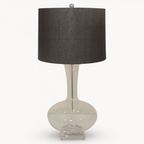 Clifton Shaped Glass Table Lamp on Metal Base with S...