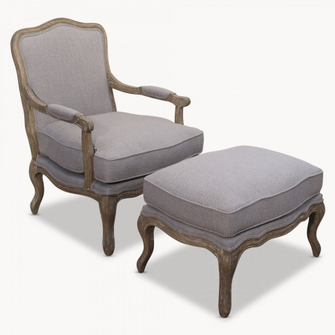 St James Grey Lounge Chair with Footstool