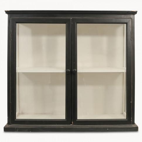 Fairfield Black Wooden Cabinet with Glass Doors