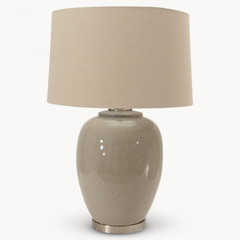 Glazed Ceramic Table Lamp with Nat Linen Shade