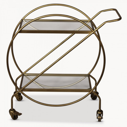 Avondale Drinks Trolley in Antiqued Brass Finish
