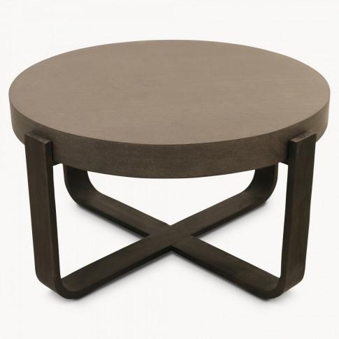 Malvern Lava Stone and Wood Round Coffee Table